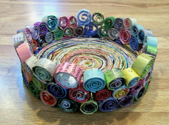 Handmade BOWL Made from Recycled Magazines Upcycled by claynfaye