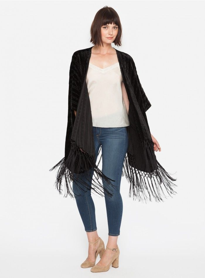 Clare Fringe Jacket The 4 Love & Liberty CLAIRE FRINGE JACKET is inspired by the luxe cover-ups from the Art Deco era. Like a glamorous poncho, this piece features tonal embroidery and a fun tassel hem-line. This is the perfect topper for a party dress but would also look amazing over a simple slim jean and tee combo.  —Rayon / silk blend —Open in front —3/4 sleeve —Care instructions: Dry clean suggested