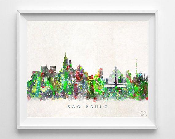 Sao Paulo Skyline Print Brazil Art City Poster by InkistPrints