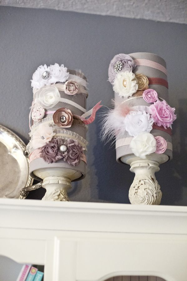 Kennedy's Gray and Pink Nursery | The Little Umbrella...cute way to display headbands...
