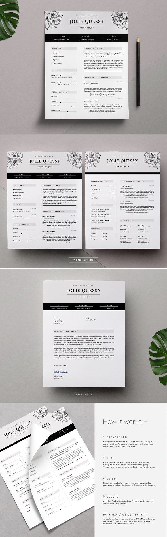 Feminine Resume Template Joli 25 best