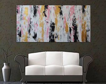 SOLD Very Large black and gold artwork pink and black art pink and gold art modern artwork original artwork gold wall art pink -    Edit Listing  - Etsy