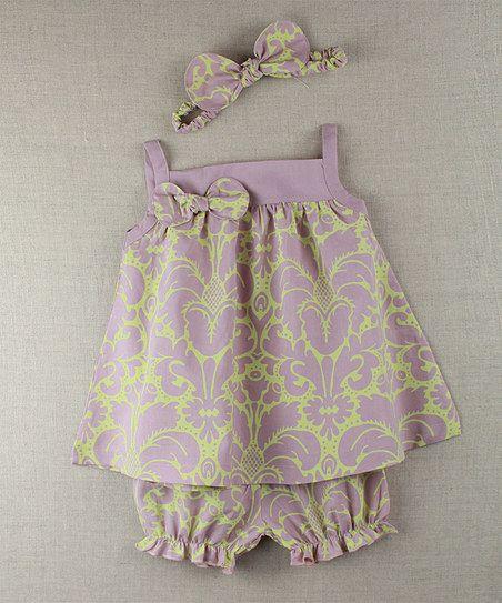 Mauve & Green Damask Swing Dress Set - Infant