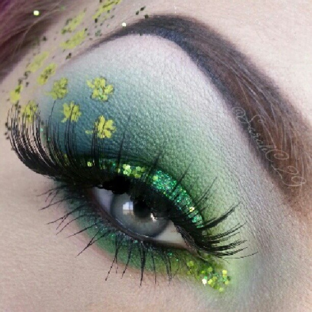 St. Patrick's Day makeup. Be Bold, Brilliant, Beautiful! www.Facebook.com/BellaBeautyCollege