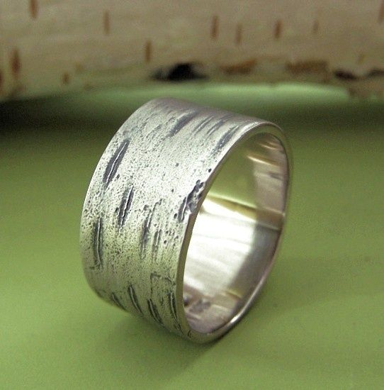 Birch Bark Wedding Ring in 14k Palladium White Gold by esdesigns full-time-etsy-crafters