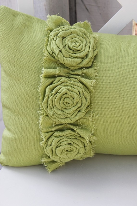 Apple Green Pillow with Frayed Ruffle and 3 Flower Rosettes