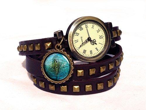 Lizard Eye Wrap Watch, Leather Watch Bracelet, Steampunk Ladies Watch