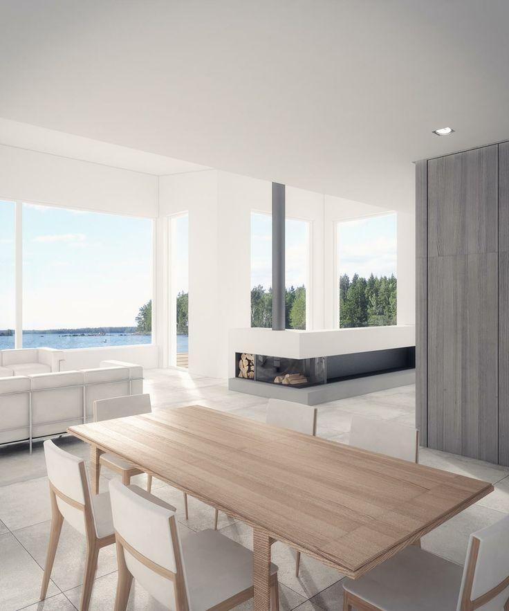 JOARC I ARCHITECTS • Interiors • apartment renovation, takka, fireplace, architectural render
