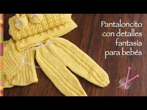 Pantalón para bebé tejido en dos agujas (parte del conjunto de 4 piezas) - YouTube