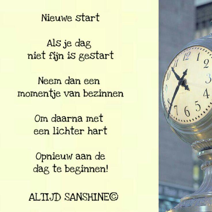 Gedichtje Altijd Sanshine - positief denken - je kan altijd je dag opnieuw beginnen