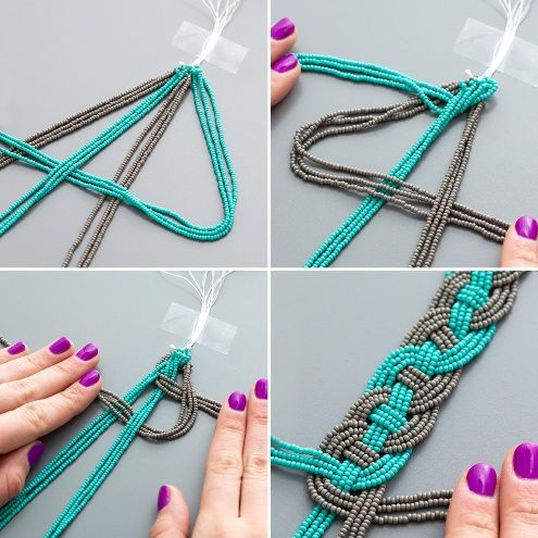 How To Make a Woven Bead Statement Necklace. Try with different cord and big beads down the middle.