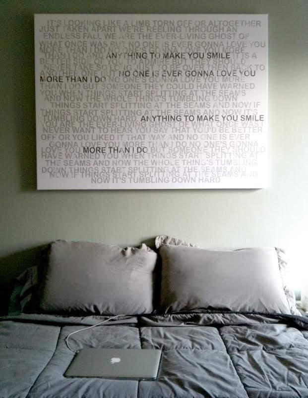 At a loss for what to hang over the bed? A custom canvas with the lyrics to your favorite song or your wedding vows is a creative idea!