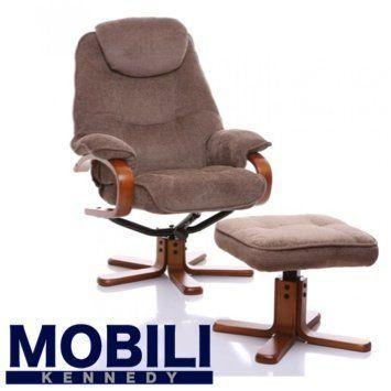 The Hong Kong - Chenille Fabric Swivel Recliner chair in Mink #ReclinerChair
