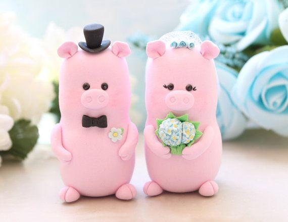 Pigs wedding cake topper - cute bride and groom personalized elegant rustic