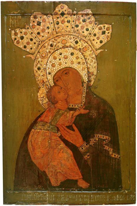 iconographer :РОСЛАВОВ----- Богоматерь Владимирская. 1614 г. МИХМ. 86х60 см.
