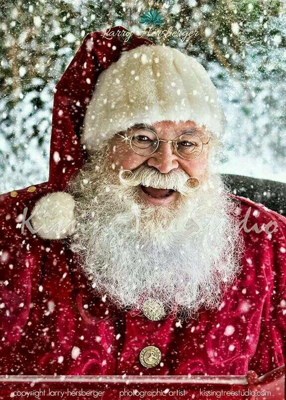 Santa Claus in falling snow.