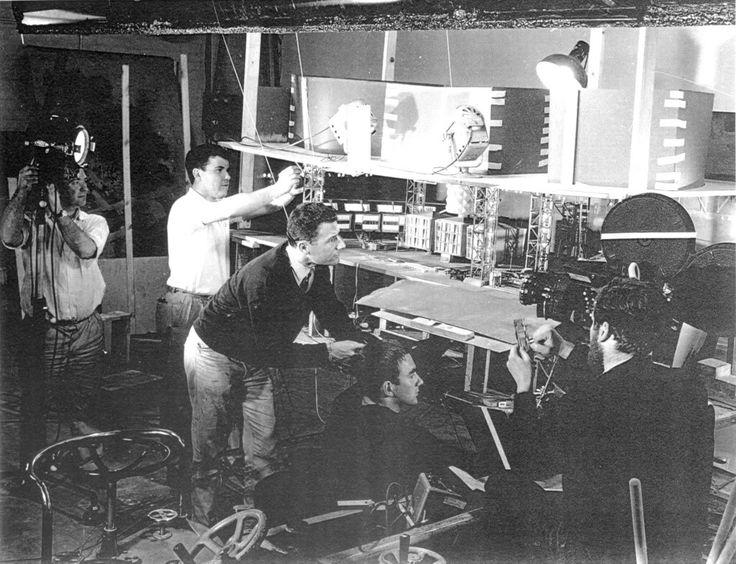 Derek Meddings (centre) filming Marineville for opening sequence of STINGRAY.
