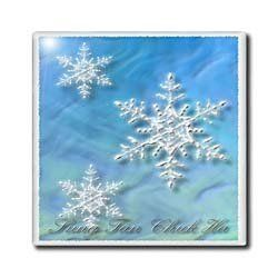 """Sung Tan Chuk Ha, Merry Christmas in Korean, Snowflake - 4 Inch Ceramic Tile by Beverly Turner Photography. $11.99. Construction grade. Floor installation not recommended.. High gloss finish. Image applied to the top surface. Dimensions: 4"""" H x 4"""" W x 1/4"""" D. Clean with mild detergent. Sung Tan Chuk Ha, Merry Christmas in Korean, Snowflake Tile is great for a backsplash, countertop or as an accent. This commercial quality construction grade tile has a high gloss finish...."""