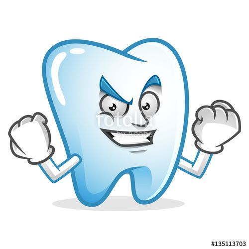 """Download the royalty-free vector """"Strong and confident tooth mascot, tooth character, tooth cartoon vector """" designed by IronVector at the lowest price on Fotolia.com. Browse our cheap image bank online to find the perfect stock vector for your marketing projects!"""