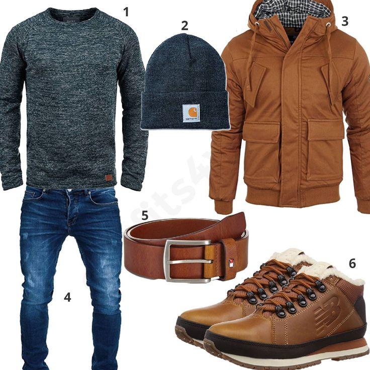 Winter-Style mit blauem Blend Strickpullover, carhartt Strickmütze, Merish Jeans mit Used Look, brauner Young & Rich Jacke, Tommy Hilfiger Gürtel und gefütterten New Balance Schuhen. #outfit #style #herrenmode #männermode #fashion #menswear #herren #männer #mode #menstyle #mensfashion #menswear #inspiration #cloth #ootd #herrenoutfit #männeroutfit