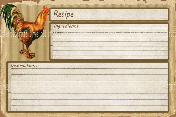Printable Recipe Card X  X Blank Recipe Cards  X Rustic