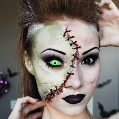 Sexy special effects lady Frankenstein tutorial using Mehron SFX palettes.