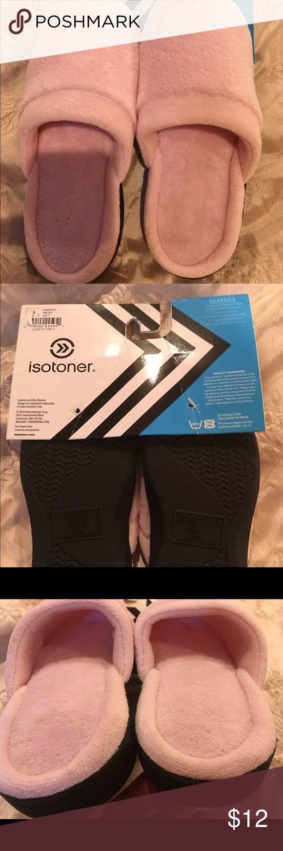 Women's Isotoner Slippers Brand new, never worn (just tried on by Mom but they were too small and it's too late to return Christmas presents) size 6.5-7. Machine washable. Isotoner Shoes Slippers