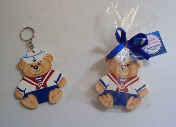 Linda lembrancinha ursinho marinheiro para nascimento ou aniversário, pode ser chaveiro ou imã.  Acompanha embalagem de celofane, fita de cetim e tag.  Consulte desconto conforme a quantidade R$ 5,30