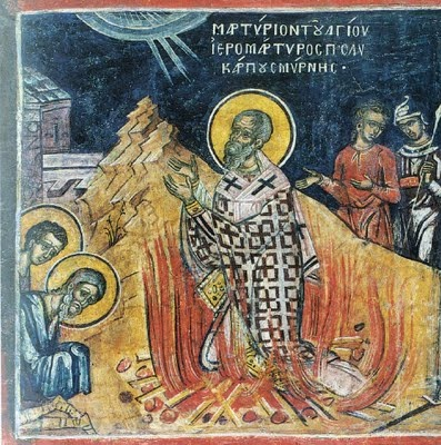 """St. Polycarp of Smyrna -- Early Christian convert, disciple of St. John the Apostle and martyr for the faith who said, """"Stand fast, therefore, in this conduct and follow the example of the Lord, 'firm and unchangeable in faith, lovers of the brotherhood, loving each other, united in truth,' helping each other with the mildness of the Lord, despising no man."""" Feast day: 2/23. Lord, help me to stand fast in your truth, loving and encouraging those around me."""