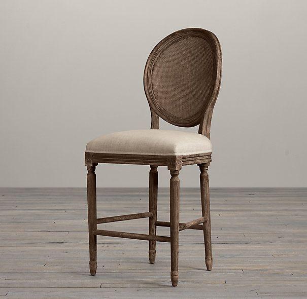 vintage french cane back round upholstered counter stool bar u0026 counter stools restoration hardware