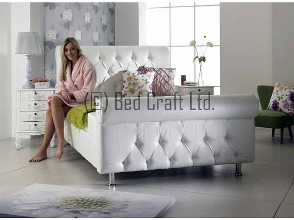 Double Diamond sleigh leather bed frame, 3ft, 4ft6,  white black cream All size