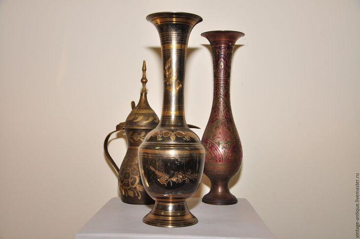 Купить Винтажная ваза Индия, старинная латунная с чеканкой черная - антиквариат винтаж, винтажный стиль
