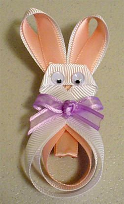 Free Easter Bunny Clippie Hair Bow Instructions: hairbow free directions, hair bow business work at home
