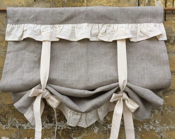 Linen Curtains Rufled Country Kitchen Tie Up Valance Rustic Grey Linen Window Treatment French Country Farmhouse Living Room Ruffle Blind