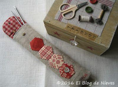 El Blog de Nieves. Labores y Punto de cruz: Bolsa para los Apliquick  hexie bag Patchwork Quilting