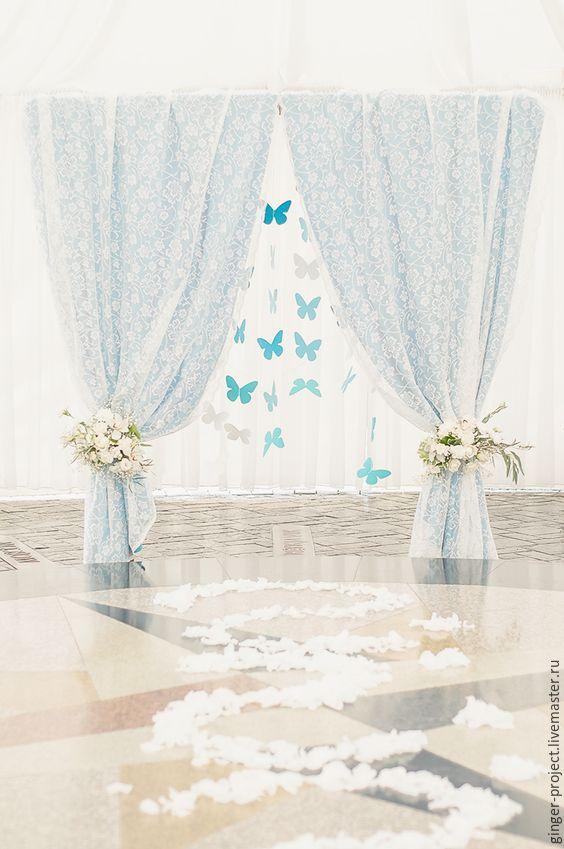 Купить Свадебное оформление зала, бело-голубая свадьба с бабочками - оформление свадьбы, оформление зала