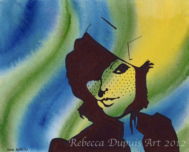 """""""Tease"""" in Watercolor and Ink on Cotton Paper by Rebecca Dupuis. Size 8.25"""" x 10"""". If you have any questions or would like to purchase artwork, please contact me on Facebook at RebeccaDupuisArt."""