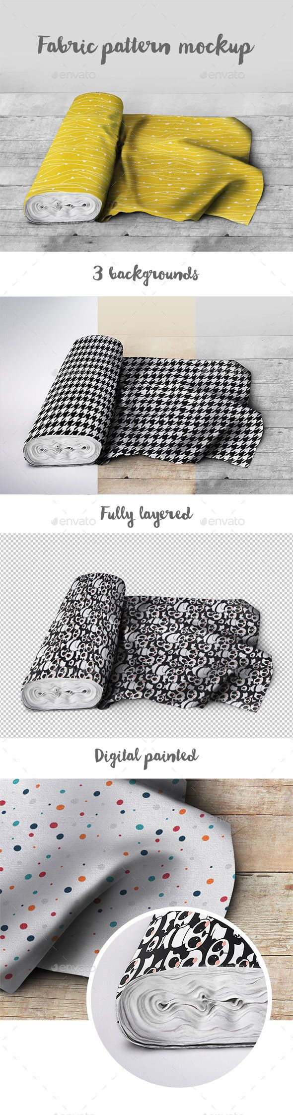 Photorealistic, digitally painted fabric pattern mockup. Perfect way to present your textile design.  - 3000×2019 px - 300 dpi - 3 backgrounds (color wood, b&w wood, gray studio background) - digitally painted - Smart Objects - easy to edit - instruction included - fully layered - transparent background.