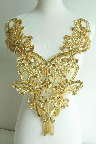BD10 Bodice Sequin Bead Applique Fringe Gold Floral Motif - use for revealing dress