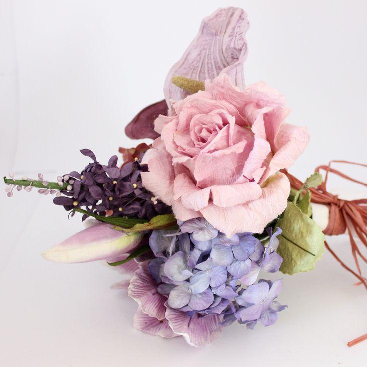 Mixed Paper Flower Bouquet- Rustic Purples – Paper Flowers Australia
