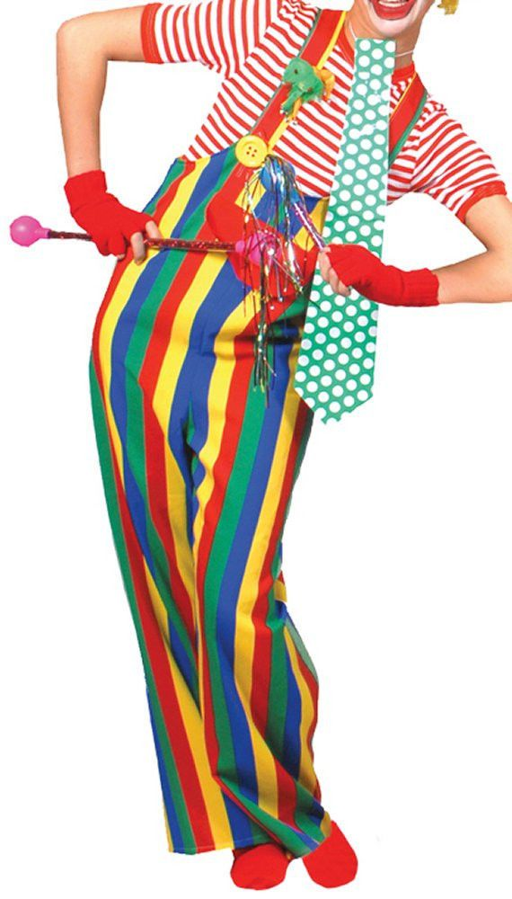 228bc65bb17 Costumes! Clown Rainbow Striped Pants Overalls w Suspenders Ad 42-44 ...