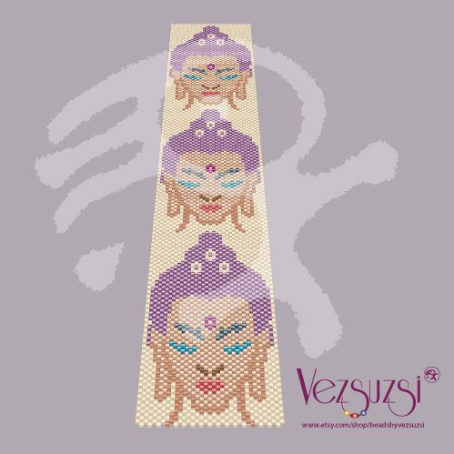 Peyote pattern Buddha heads... PDF pattern door beadsbyvezsuzsi