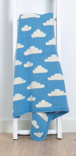 """Fluffy White Clouds"" blanket knitting pattern.  Cute blanket design for babies / children."