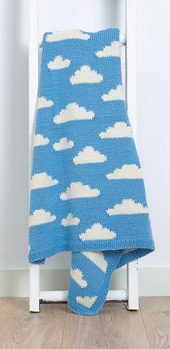 """Fluffy White Clouds"" blanket knitting pattern.  Cute blanket design for babies / children."