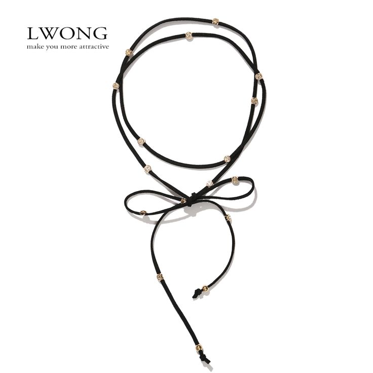 2016 New Faux Suede Double Wrap Chokers With Crystals Gothic Rope Wrap Lariat Beaded Velvet Choker Necklace Jewelry High Quality
