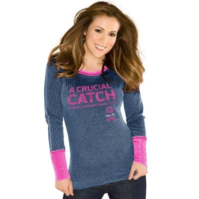 Touch by Alyssa Milano Seattle Seahawks Ladies Breast Cancer Awareness Quick Pass Long Sleeve Thermal T-Shirt - College Navy