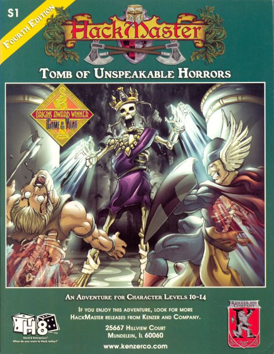 RPG Covers  HackMaster: S1 Tomb of Unspeakable Horrors ~ Kenzer and Company (2003)  The HackMaster version of the infamous Tomb of Horrors.