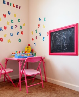 Play Room - Chalk board in a frame. Easy to make and move around.