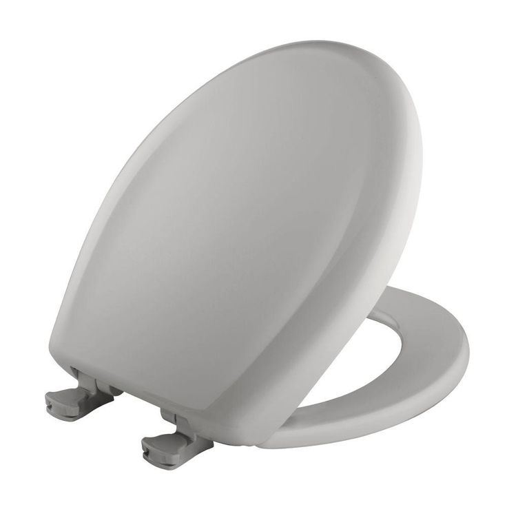 bemis slow close statite round closed front toilet seat in silver