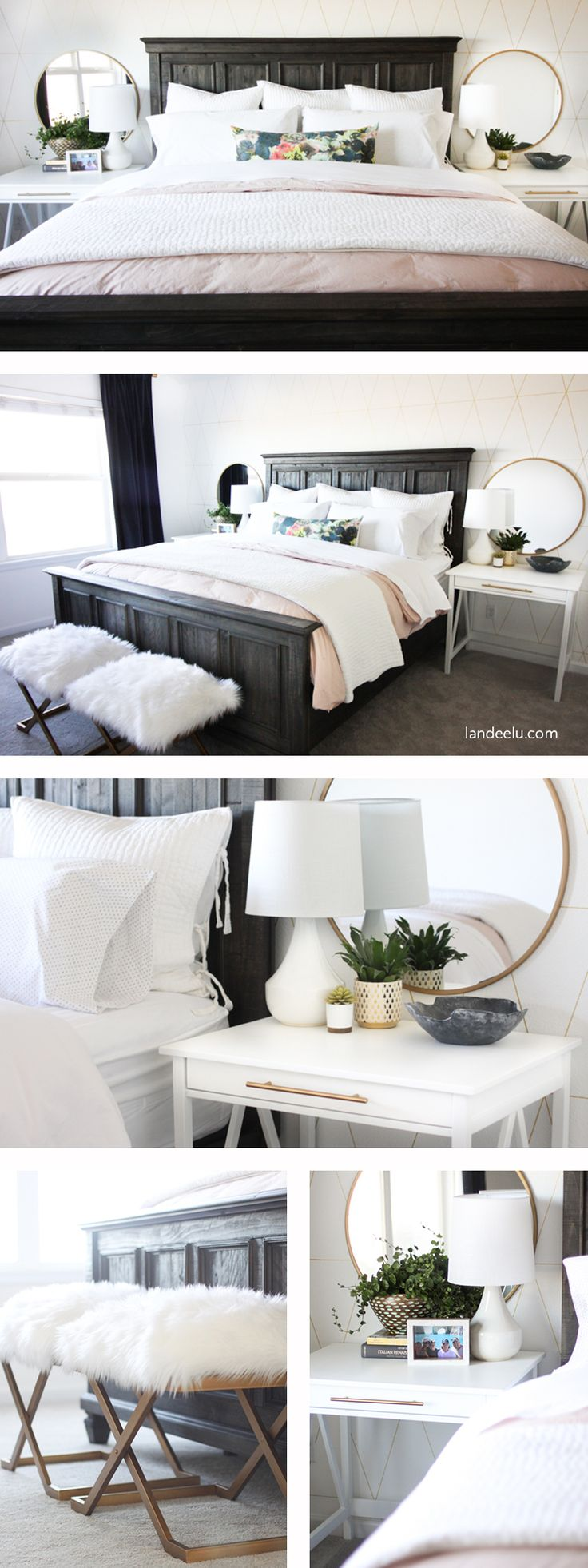 Looking for fresh master bedroom ideas? This bedroom makeover is chock full of great ideas for your bedroom too! Accent wall, accessories, DIY projects!